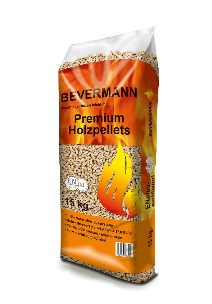 Holzpellets im Sack von Bevermann